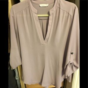 V neck Tunic with 3/4 length sleeve with tabs